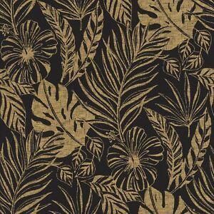 Rasch-Portefeuille-Tropical-Feuille-Papier-Peint-Noir-Dore-215533
