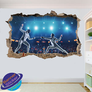 Fencing Foil Epee Sabre Olympic Wall Stickers 3d Art Poster Mural