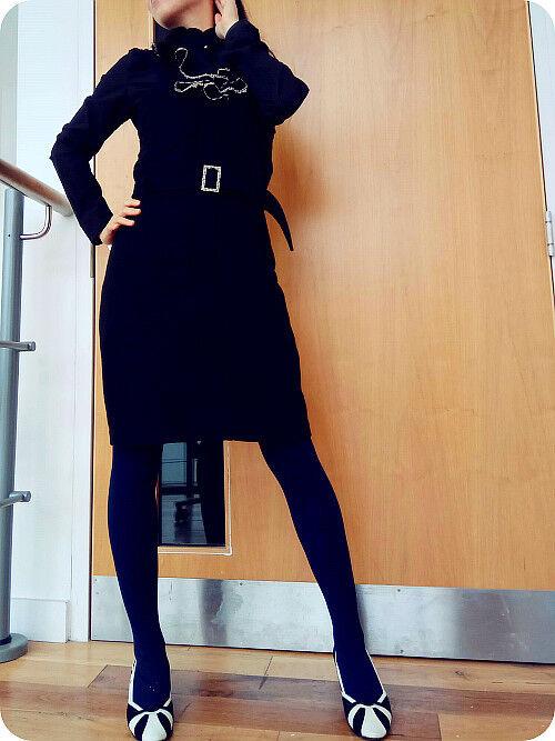 Yani Korea wool cashmere bodycon brooch office lady slip dress side zip Darkbluee