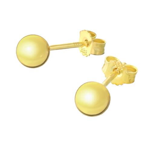 Par 5mm bala pendientes 8 quilates 333 dorado brillo señora conector aretes 9062