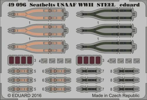 Eduard 1//48 Seatbelts USAAF WWII STEEL # 49096
