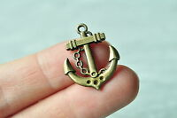 15pcs Antique Bronze Anchor Charm Pendant Steampunk Necklace Craft Handmade