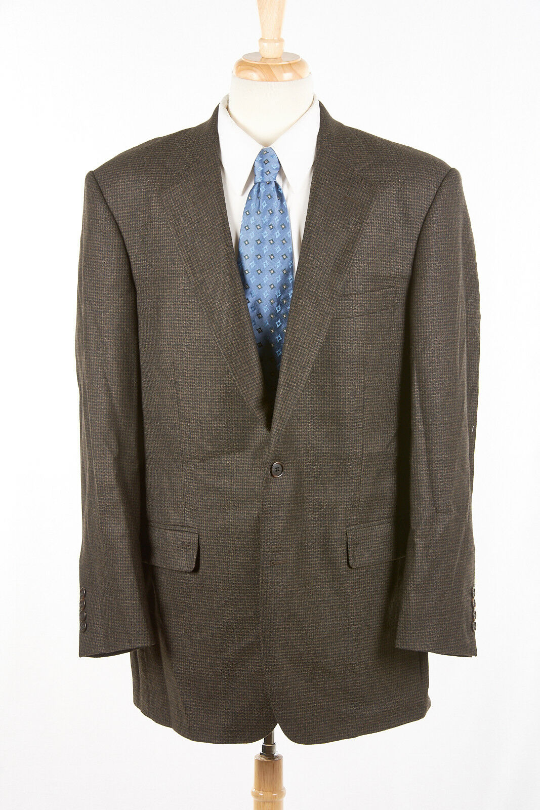BROOKS BredHERS Sport Coat 44 L Madison in Mossy Brown Houndstooth SAXXON Wool