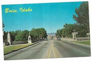 Vintage-Idaho-Chrome-Postcard-Boise-Memorial-Bridge-Capitol-Boulevard-Downtown