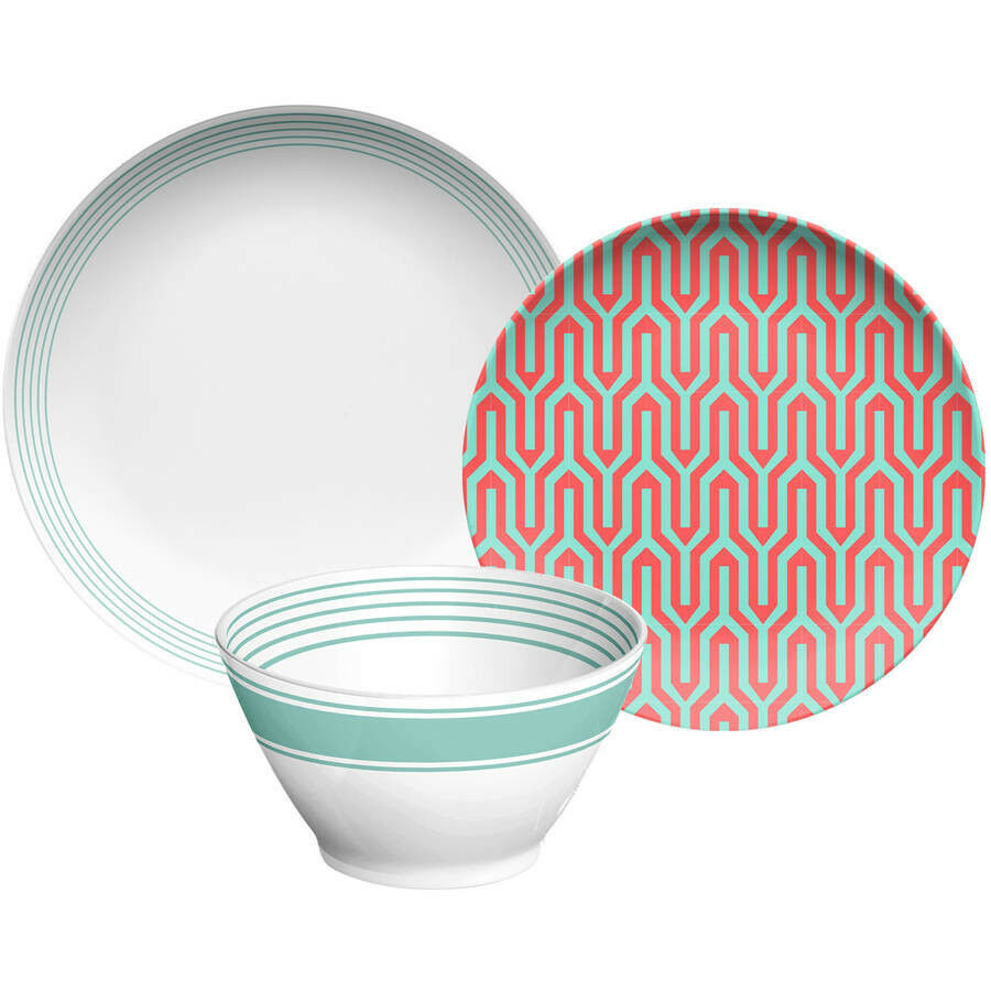 Fun géométrique Dinnerware Set 24 sert 8 Plats Bol Assiettes Tasses Mug Rouge Blanc