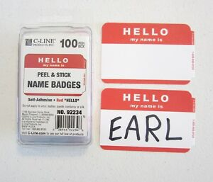 100-RED-034-HELLO-MY-NAME-IS-034-NAME-TAGS-LABELS-BADGES-STICKERS-PEEL-STICK-ADHESIVE