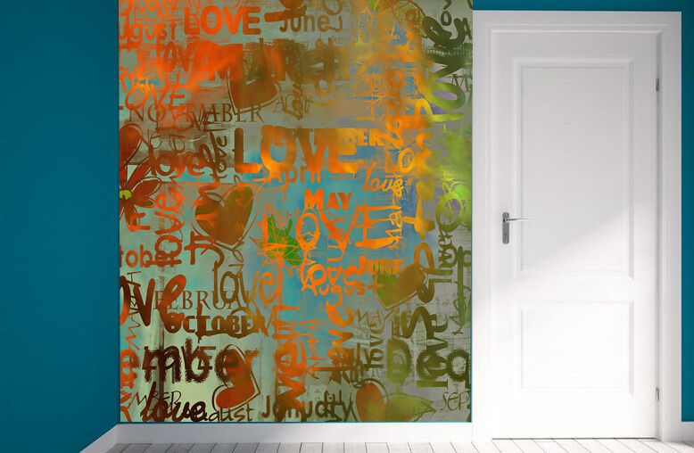 3D Amore color Parete Murale Foto Carta da parati immagine sfondo muro stampa