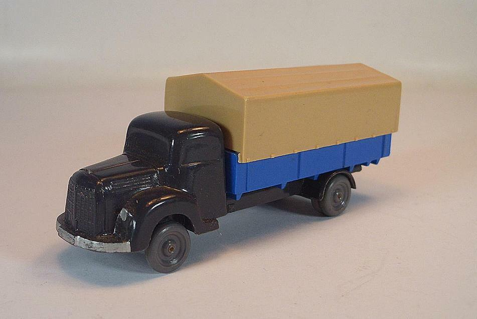 Wiking rollachser MB 3500 planches camion Anthracite Bleu ciel Bâche Beige
