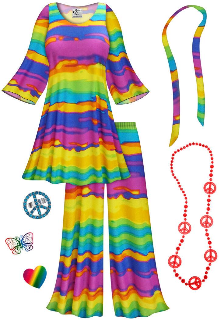 End De the rainbow taille plus Hippie 2pc Set + Costume HalFaibleeen LG Pour 9x