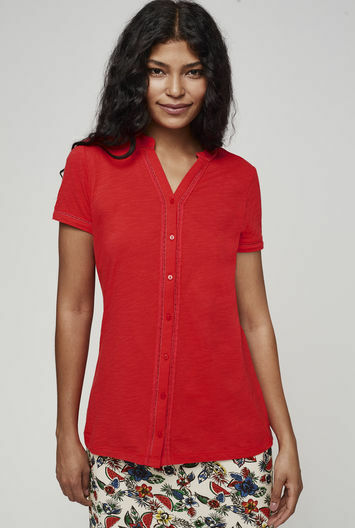 Long Tall Sally Pretty Jersey Shirt Fiesta Red Size L