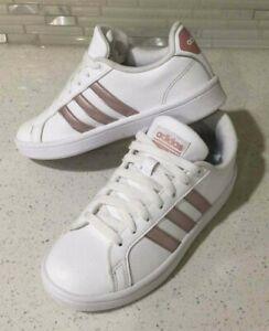 Details about Adidas Cloudfoam Advantage Sneaker White w/ Rose Gold Stripes Girl's Size 5