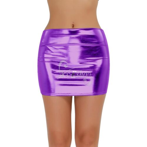 Women Lady Lingerie PVC Shiny Wetlook High Waist Tube Micro Mini Skirt Clubwear
