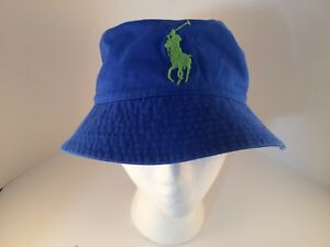 Polo Ralph Lauren medium blue bucket beach hat big pony YOUTH size 8 ... f7c51811e40