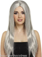 Ladies Long Grey Old Lady Granny Witch Halloween Fancy Dress Costume Outfit Wig