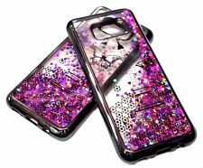 For Samsung Galaxy S8 Gray Eiffel Tower Hearts Glitter Liquid Water Sparkle Case
