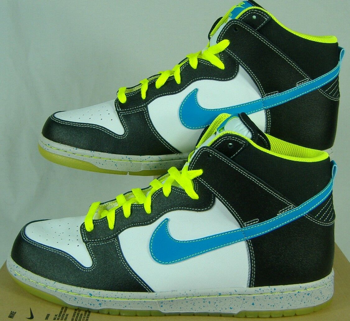 Mens 13 NIKE Dunk High AS PRM White Black Glow bluee Leather shoes  95 558493-143