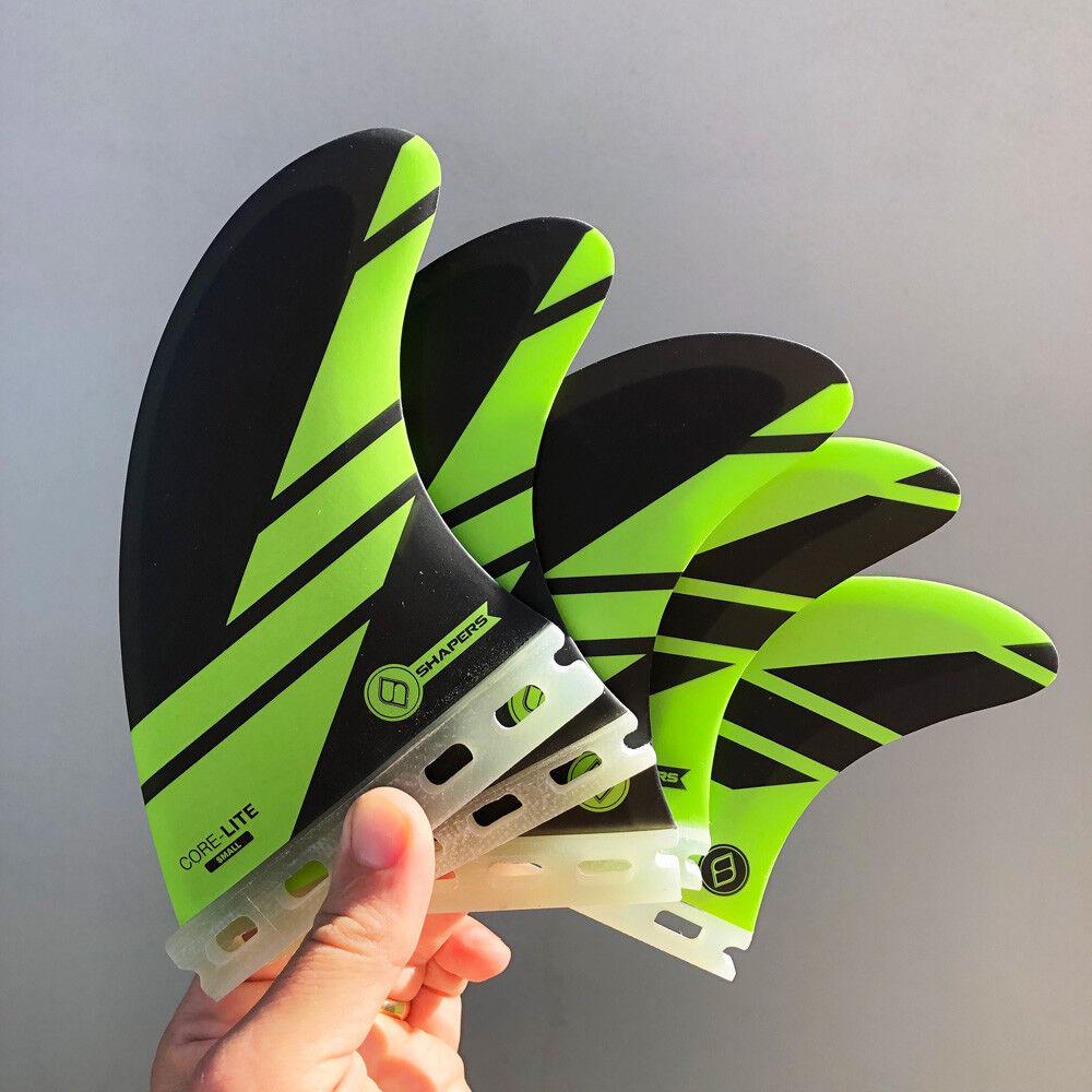 Shapers Fins - Corelite Small (Futures) Tri-Quad-5 Fin - Green - Surf - New