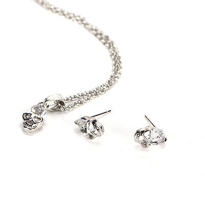 Elegant Gold Sliver Plated Rhinestone Skull Head Necklace Earrings Jewelry Set A