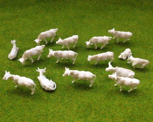 verschieden Kühe Rinder Tierfiguren unbemalt Spur H0 AN8701B NEU 100 Stk