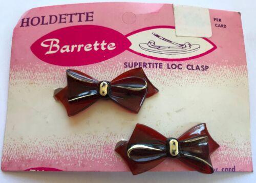 "Vintage Hair Barrettes Tortoise Shell 1950/'s /""Tilco/"" Mini  Bow Barrettes"