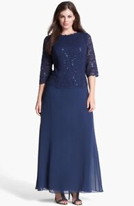 ALEX-EVENING-Navy-Blue-Sequin-Lace-Mock-2pc-3-4-Sleeve-Chiffon-A-line-Gown-18W