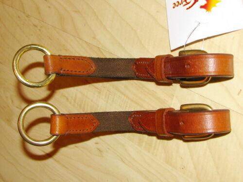 FSS Leather Flexi Flexible Elastic Insert Reins Aid 4 Soft Contact BRASS BUCKLES