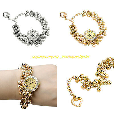 Fashion Women Luxury Sport Alloy Beads Band Strap Bracelet Quartz Wrist Watch