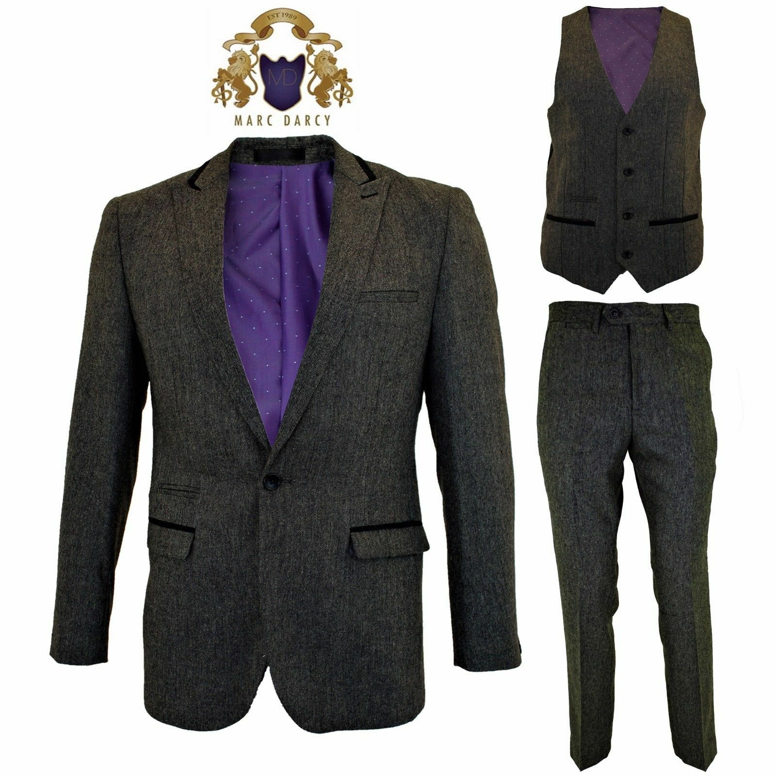 Herren Designer Tweed Blazer Waistcoat Trousers 3 Piece Suit Sold Separately New
