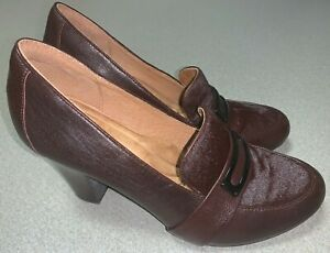Sofft-Misty-Cow-Fur-Pumps-Heels-Shoes-Mahogany-Brown-Loafers-Womens-Sz-9-1109300