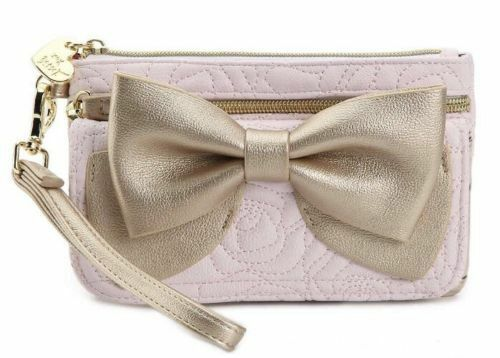 BETSEY JOHNSON READY SET BOW QUILTED ROSES GOLD BLUSH PINK WRISTLET WALLET NWT
