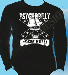Rockabilly-Psychobilly-Punk-Mens-Long-Sleeve-T-Shirt-Psychobilly-From-Hell-50-039-s