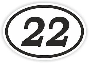22 Vingt-deux Numéro Ovale Autocollant Pare-chocs Autocollant Motocross Moto Aufkleber-afficher Le Titre D'origine