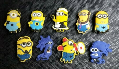 9 x Minions Despicable Me Minions Shoe Charms PVC Rubber Holey Clogs shoes charm