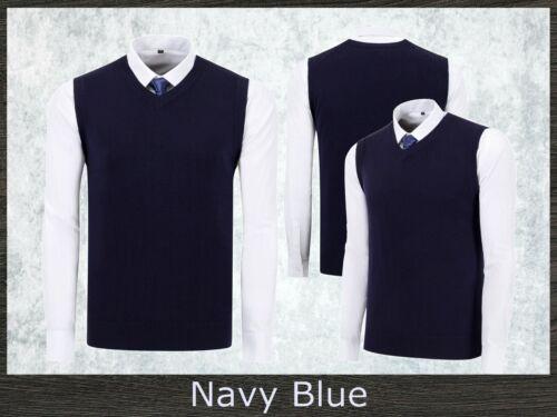 Men/'s Business V-Neck Tank Top Knitted Vest Office Sleeveless Plain Almond Beige