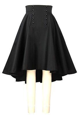 Black Gothic Rockabilly Retro Button High Low Asymmetric Corset Circle Skirt