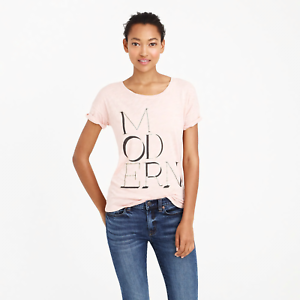 J CREW M L T-Shirt Modern Pink Cotton Modal Metallic Script Letters Graphic NWT