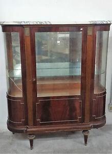 Vetrina in stile Luigi XVI in legno piuma di mogano con piano in ...