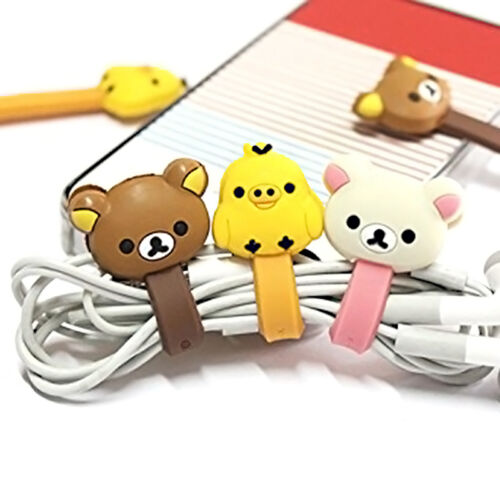4pcs Cute Cartoon Earphone Headphone Cable Wire Cord Winder Organizer Clip Wrap