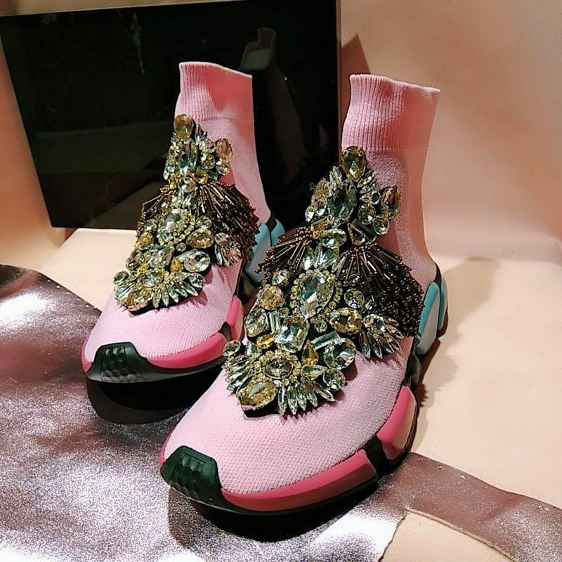 Kvinnliga tillfälliga skor Rhinestone Crystal Socks Tassels Knight Footwear Accessores