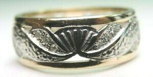 Antique-Art-Deco-Wedding-Eternity-Band-14K-White-Yellow-Gold-Ring-Sz-6-5-UK-M1-2