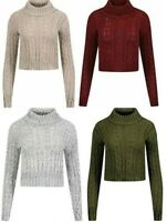 NEW WOMENS POLO NECK CROPPED CHUNKY CABLE KNIT LONG SLEEVE KNITTED JUMPER TOP