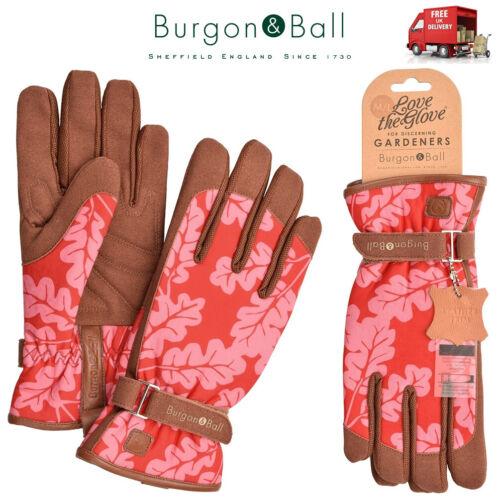 Burgon /& Ball Oak Leaf Poppy Ladies Gardening Gloves Cushion Palm Love The Glove