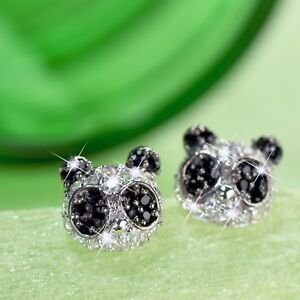 1fcf23962b766 Details about 18k white gold filled made with SWAROVSKI crystal panda  earrings stud cute
