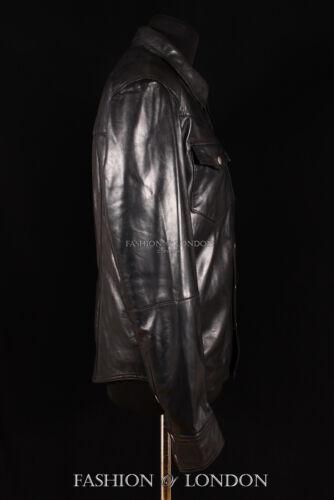 WEST Mens Western Trucker Leather Shirt Cowboy Real Leather Summer Jacket Black