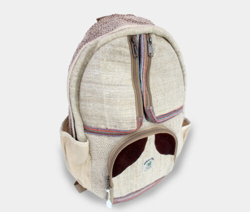Cotton and Hemp Backpack with Three Front Zipper Pouches HBG35