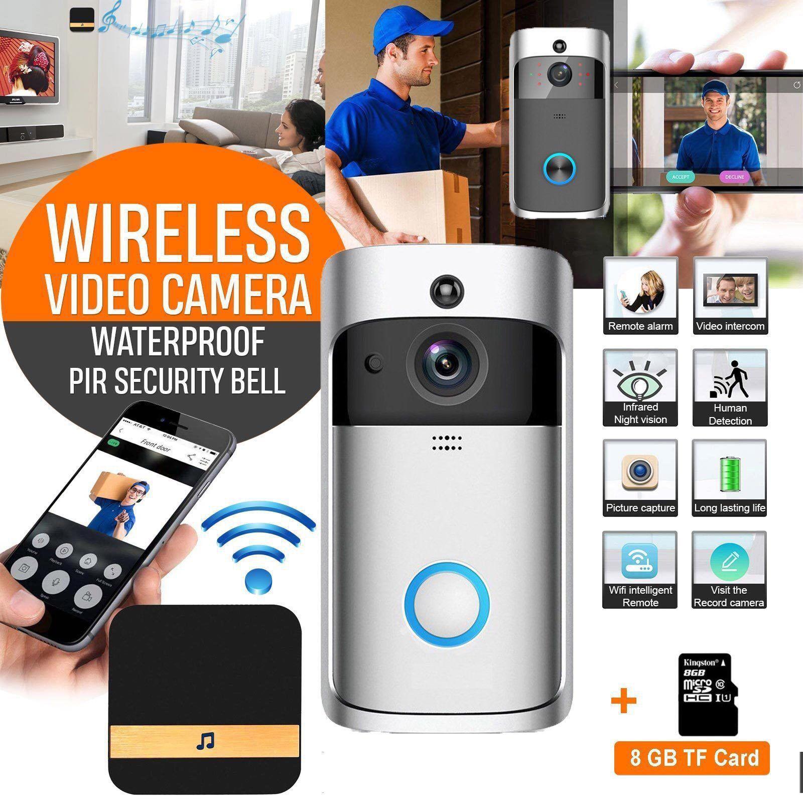 WiFi Wireless Video Doorbell 8G Two-Way Talk Smart Door Bell Security Camera US