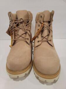 Timberland 6 Inch Premium Waterproof Mens Boot Light Brown White Sz 11