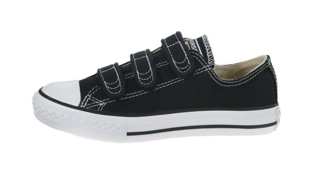 Converse All Star Chuck Taylor Black Shoes Straps Youth Big Girls Kids Children
