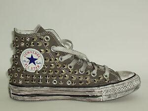 Converse all star Hi borchie teschi scarpe nero grigi rosso blu artigianali