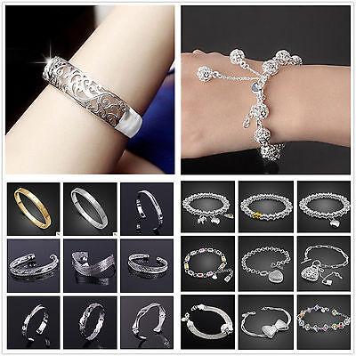 New Fashion Jewellery 925Silver Bracelet Silver bangle Silver Chain +FREE box